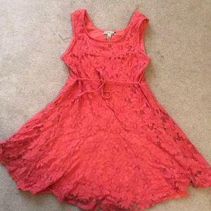 Dark Coral Flower Printed Dress